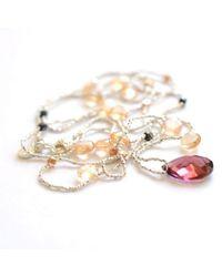 Vivien Frank Designs Fine Silver and Gemstone Necklace Champageblack - Lyst