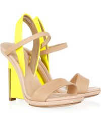 Reed Krakoff Leather and Patentleather Wedge Sandals - Lyst