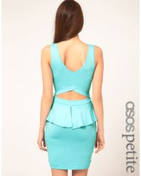 ASOS Collection Asos Petite Exclusive Peplum Dress with Cut Out - Lyst