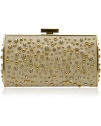 Elie Saab Structured Leather and Crystal Clutch - Lyst