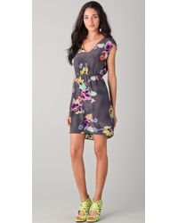 Rebecca Taylor Wild Rose Print Dress multicolor - Lyst