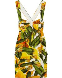 Dolce & Gabbana Printed Brocade Cottonblend Mini Dress - Lyst