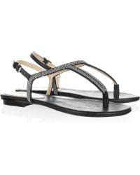 Kors by Michael Kors Zanna Chaintrimmed Leather Sandals - Lyst