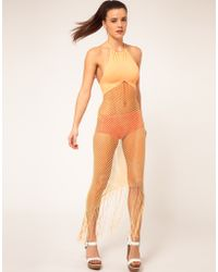 Mark Fast - Mesh And Fringe Dress With Halter Neck - Lyst