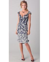 Zac Posen Off The Shoulder Jacquard Dress gray - Lyst