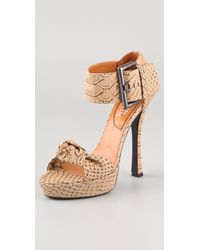 Edmundo Castillo | Eva Printed Python Sandals | Lyst