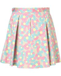 Topshop Daisy Printed Pleated Skirt - Lyst