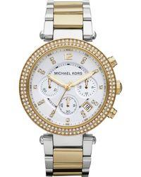 Michael Kors Parker Glitz Watch gold - Lyst
