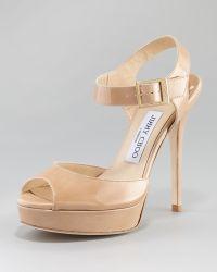 Jimmy Choo Linda Patent Platform Sandal - Lyst