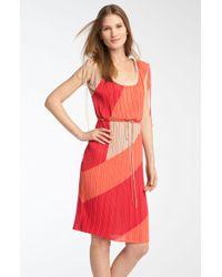 BCBGMAXAZRIA Pleated Colorblock Dress - Lyst