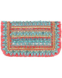 Matthew Williamson Large Embroidered Suede Clutch - Lyst