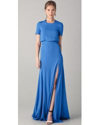 Peter Som - Short Sleeve Gown with Slit - Lyst