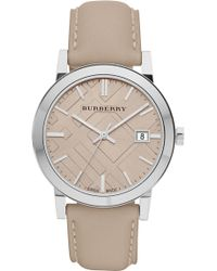 Burberry Check Stamped Round Dial Watch - Lyst