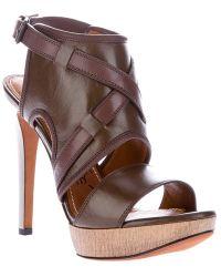 Lanvin Metallic Heel Sandal - Lyst