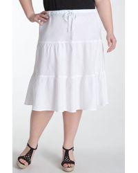 Allen Allen   Tiered Linen Skirt   Lyst