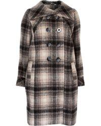 Ann Harvey - Large Collar Check Coat - Lyst