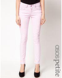 ASOS - Asos Petite Exclusive Lilac Skinny Jeans - Lyst