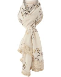 Dickins & Jones - Wildflower Print Scarf with Crochet Lace Edging - Lyst