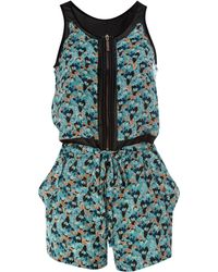 House of Dereon - Floral Zip Front Playsuit - Lyst