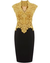 Karen Millen Heavy Cotton Lace Dress yellow - Lyst