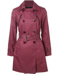Kenneth Cole - Asymetric Zip Belted Double Breasted Trench Coat - Lyst