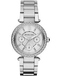 Michael Kors Minisize Parker Multifunction Watch Silver Color - Lyst