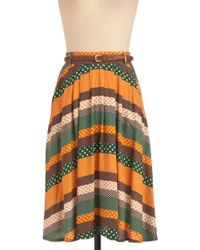 ModCloth Washi and Learn Skirt in Orange and Green - Lyst