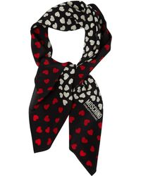 Boutique Moschino | All Over Hearts Print Square Scarf | Lyst
