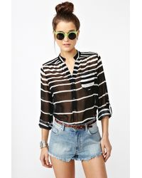 Nasty Gal Line Up Blouse - Lyst