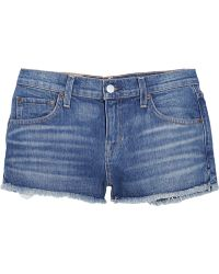 Textile Elizabeth And James Ruby Distressed Stretchdenim Shorts - Lyst