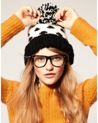 ASOS Collection Asos Spot Pom Beanie black - Lyst