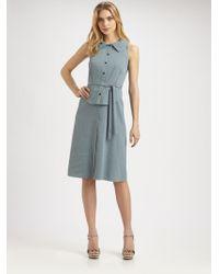 Elie Tahari Stevie Stretch Linen Dress blue - Lyst