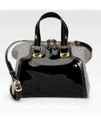 Fendi Chameleon Patent Leather Canvas Duffle Bag - Lyst