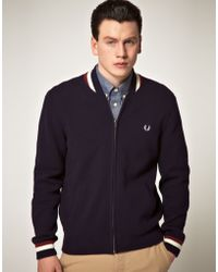 Fred Perry Fred Perry Bomber Cardigan - Lyst
