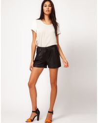 Vero Moda Very - Vero Moda Very Leather Sports Shorts - Lyst