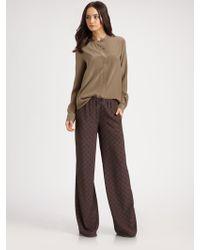 Vince Printed Wide Leg Silk Pants - Lyst