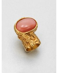Saint Laurent Goldtone Arty Ovale Ring - Lyst