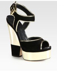 Giuseppe Zanotti Metallic Leather and Suede Platform Sandals - Lyst