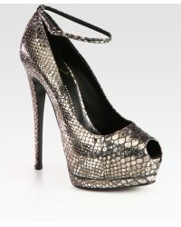 Giuseppe Zanotti Snakeprint Metallic Leather Peep Toe Pumps - Lyst