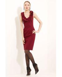 Oscar de la Renta Ruffle Collar Stretch Wool Dress - Lyst