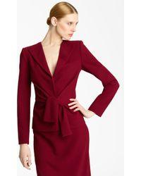 Oscar de la Renta Tie Waist Wool Crepe Jacket - Lyst