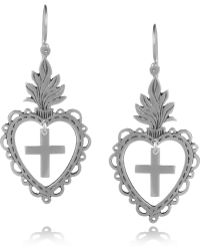 Laurent Gandini | Sterling Silver Heart Drop Earrings | Lyst