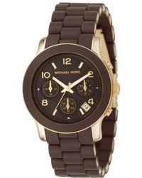 Michael Kors Womens Chronograph Brown Polyurethane and Goldtone Stainless Steel Bracelet 39mm - Lyst