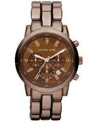 Michael Kors Womens Chronograph Espresso Tone Stainless Steel Bracelet 43mm - Lyst