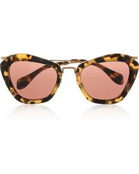 Miu Miu Cat Eye Tortoiseshell Acetate Sunglasses - Lyst
