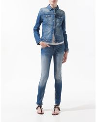 Zara Light Wash Denim Jacket - Lyst