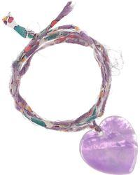 Aurelie Bidermann Mother-Of-Pearl Heart Charm Bracelet - Lyst