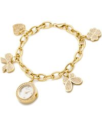 Carolee - Womens Gold Tone Stainless Steel Charm Bracelet 22mm - Lyst