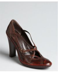 Celine Mahogany Leather Tooled Strappy Pumps - Lyst