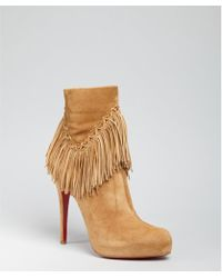 Christian Louboutin Camel Suede Rom 120 Fringed Ankle Boots - Lyst
